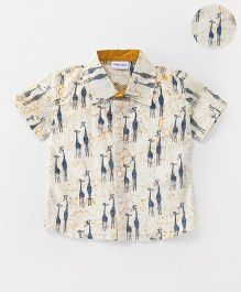 Kids Lane Giraffe Print Shirt - Off White