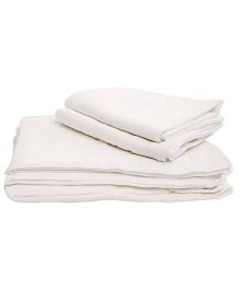 Tinycare Cloth Square Nappy Large White - Set Of 5