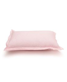 The Baby Atelier Organic Cotton Flowers Junior Pillow Cover Without Filler - White & Hot Pink