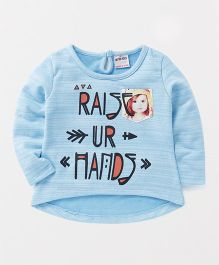 Button Noses Full Sleeves Top Caption Print - Sky Blue