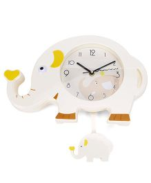 Elephant Shape Clock - Cream