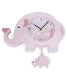Elephant Shape Clock - Light Pink