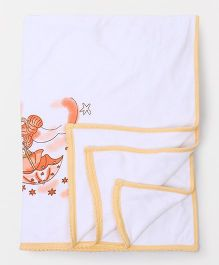 Tinycare Baby Towel Teddy & Star Print - White & Peach