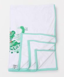 Tinycare Baby Towel Teddy & Star Print - White & Green