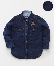Palm Tree Full Sleeves Stone Wash Denim Shirt - Dark Blue