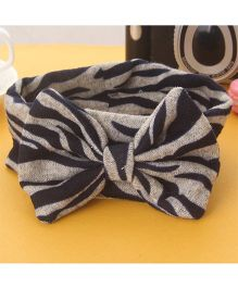 Little Miss Cuttie Leapord Printed Bow Applique Head Wrap - Black