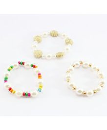 Pihoo Combo Pearl Bracelets Pack Of 3 - Multicolor