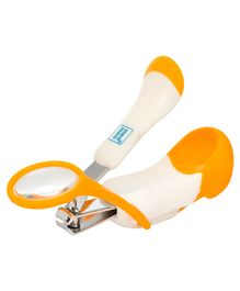 Mee Mee Gentle Nail Clipper With Magnifier - White & Orange