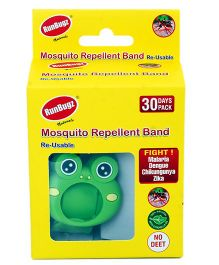 Runbugz Froggy Mosquito Repellent Band With Refillable Tabs Green - 1 Month Pack