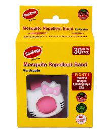 Runbugz Kitty Mosquito Repellent Band With Refillable Tabs Pink - 1 Month Pack