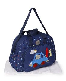 Mee Mee Diaper Bag with Changing Mat Car Print - Blue