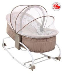 Babyhug Opal 3 in 1 Cozy Rocker Sleeper With Mosquito Net- Light Brown