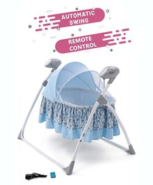 Babyhug Beryl Electronic Auto Swing Cradle With Remote Control - Blue
