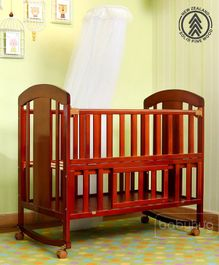 Babyhug Florence Wooden Cot Cum Rocker With Storage Space  - Cherry