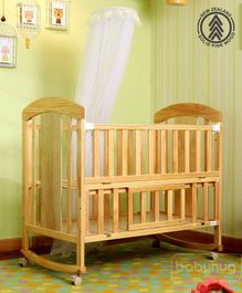Babyhug Florence Wooden Cot Cum Rocker With Storage Space  - Natural Finish