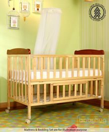 Babyhug Hamilton Wooden Cot With Mosquito Net & Storage Space - Natural Finish - Natural Finish