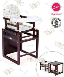 Babyhug Verona 2 In 1 Wooden High Chair With Removable Cushioned Seat & 2 Point Safety Harness - Dark Brown