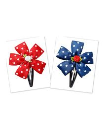 Keira'S Pretties Set Of 2 Polka Dots Ribbon Tic Tak Hair Clip - Red & Blue