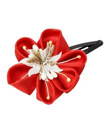 Keira'S Pretties Handmade Traditional Flower Design Hair Clip - Red