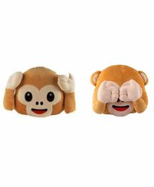 Deals India Hear No Evil & See No Evil Monkey Smiley Cushion Set of 2 - Brown