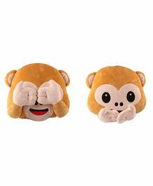 Deals India See No Evil & Speak No Evil Monkey Smiley Cushion Set of 2 - Brown