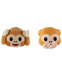 Deals India Hear No Evil & Speak No Evil Monkey Smiley Cushion Set of 2 - Brown