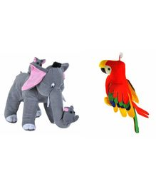 Deals India Mother Elephant With 2 Babies & Parrot Soft Toy - Grey Red
