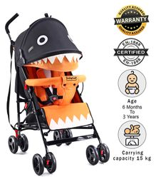 Babyhug Lil Monsta Stroller With Adjustable Leg Rest - Orange & Black