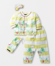 White Rabbit Striped Doll Print Night Suit With Eye Mask - Yellow