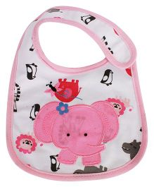 Babies Bloom Waterproof Saliva Bib Elephant Patch - Pink