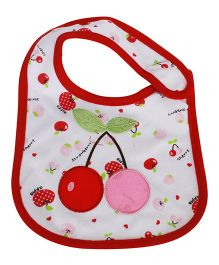 Babies Bloom Waterproof Saliva Bib Cherry Patch - Red