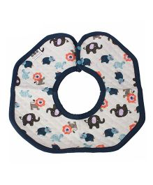 Babies Bloom Round Cotton Saliva Bib Animal Print - Blue & White