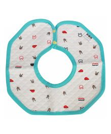Babies Bloom Round Cotton Saliva Bib Vehicle Print - Sea Green & White