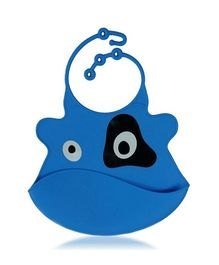 Babies Bloom Bib With Crumb Catcher Animal Shape - Blue