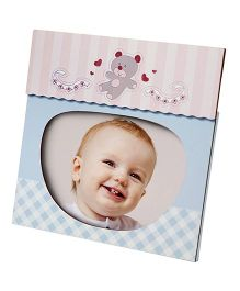 Babies Bloom Teddy Print Photo Frame - Blue Pink