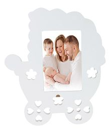 Babies Bloom Baby Pram Shaped Photo Frame - White