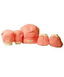 Babies Bloom Solid Color Hand Mittens Booties And Cap Set - Pink
