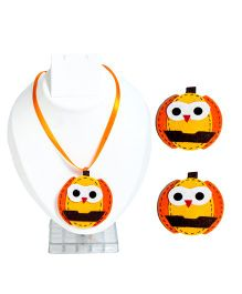 Li'll Pumpkins Halloween Owl Hairpins & Necklace - Orange & Yellow