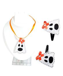 Li'll Pumpkins Halloween Skull Hairpins & Necklace - Orange & White