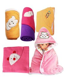 My NewBorn Baby Fleece Wrapper Cum Blanket Pack of 5 -  Pink & Multi Colour