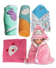 My NewBorn Baby Fleece Wrapper Cum Blanket Pack of 5 - White & Multi Colour