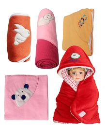 My NewBorn Baby Fleece Wrapper Cum Blanket Pack of 5 - Red & Multi Colour