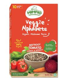 Mimmo Organics Veggie Alphabets Organic Pasta Infused With Vegetables - 250 gm