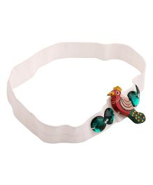 NeedyBee Headband Peacock Motif - White