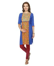 8dac73315e0a8 Morph Three Fourth Sleeves Maternity Nursing Kurta - Royal Blue