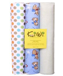 Kiwi Printed Cotton Receiving Blanket 014 Pack Of 3 - Multicolor