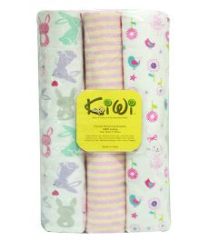 Kiwi Printed Cotton Receiving Blanket 029 Pack Of 3 - Multicolor