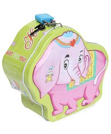 Elephant Shape Coin Bank With Lock And Key - Green
