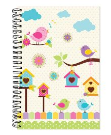 Little Jamun Spiral Birds Print Notebook - Multi Colour