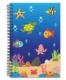 Little Jamun Spiral Fish Print Notebook - Blue